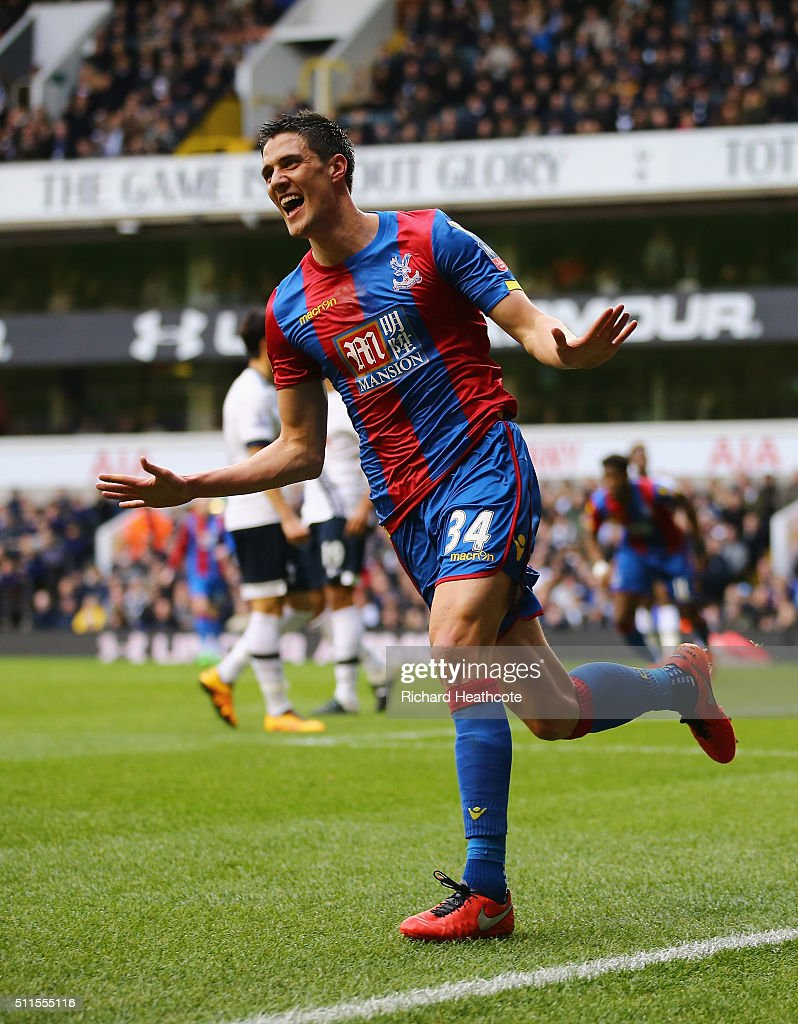 Martin Kelly of Crystal Palace celebrates scoring the opening goal during the Emirates FA Cup Fifth Round match between Tottenham Hotspur and Crystal Palace at White Hart Lane on February 21, 2016 in London, England.