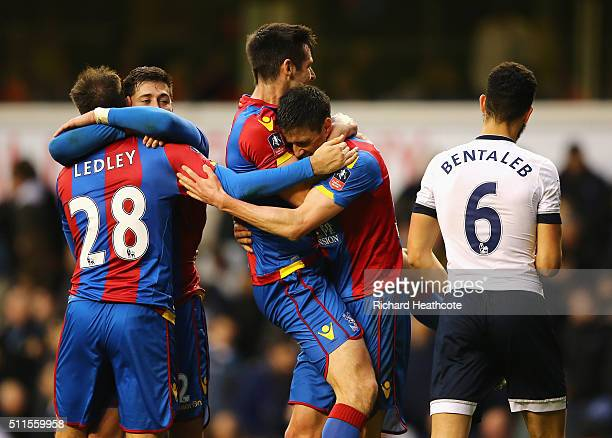 Martin Kelly of Crystal Palace celebrates with Scott Dann of Crystal Palace after the Emirates FA Cup Fifth Round match between Tottenham Hotspur and...