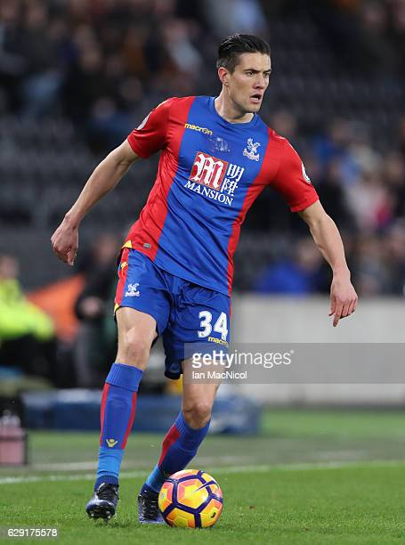 Martin Kelly of Crystal Palace controls the ball during the Premier League match between Hull City and Crystal Palace at KC Stadium on December 10...