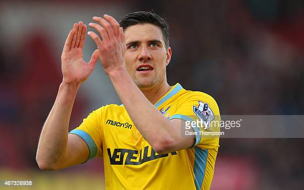 Martin Kelly of Crystal Palace during the Barclays Premier League match between Stoke City and Crystal Palace at The Britannia Stadium on March 21...