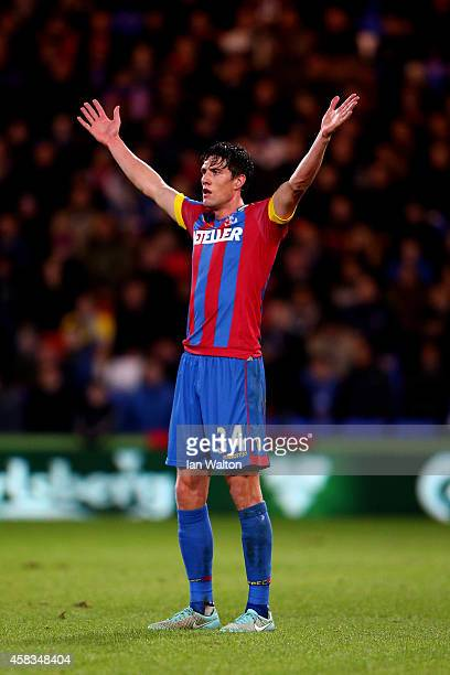 Martin Kelly of Crystal Palace gestures during the Barclays Premier League match between Crystal Palace and Sunderland at Selhurst Park on November 3...