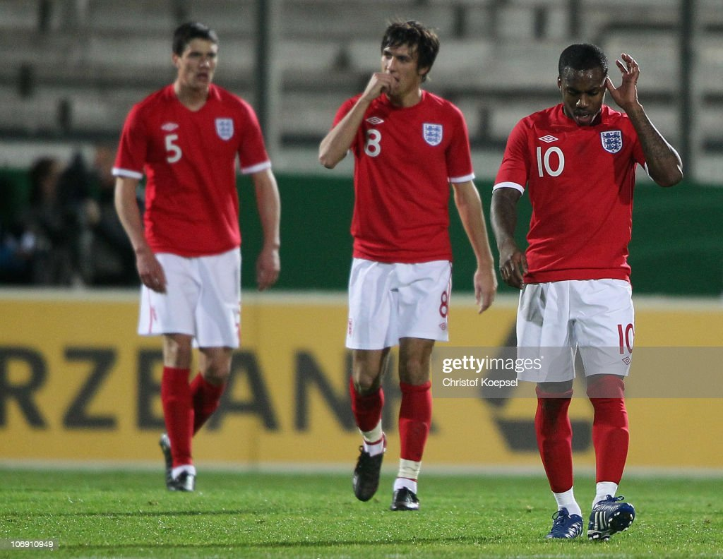 Martin Kelly Ryan Bertrand of England and Daniel Rose look dejected afte rthe first goal of Germany during the U21 international friendly match...