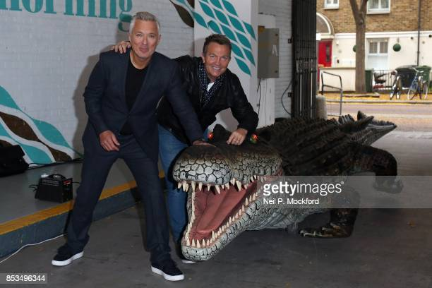 Martin Kemp and Bradley Walsh with an animatronic crocodile from 'Peter Pan An Arena Spectacular' at This Morning ITV Studios on September 25 2017 in...