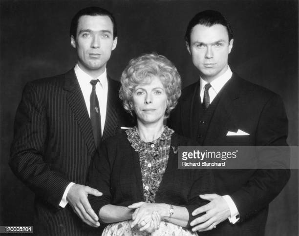 Martin Kemp and his brother Gary as British gangsters Reggie and Ronnie Kray respectively with actress Billie Whitelaw who plays their mother Violet...