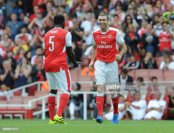 Martin Keown and Kolo Toure of Arsenal Legends during the Arsenal Foundation Charity match between Arsenal Legends and Milan Glorie at Emirates...