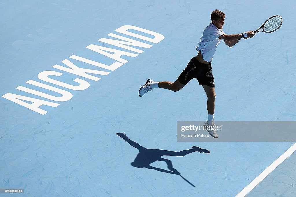 Martin Kilzan of Slovakia plays a backhand during his first round match against Xavier Malisse of Belgium during day one of the Heineken Open at ASB Tennis Centre on January 7, 2013 in Auckland, New Zealand.