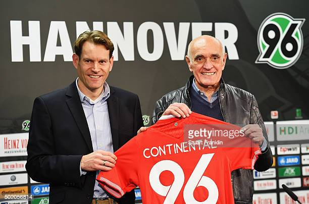 Martin Kind president of Hannover 96 and Nikolai Setze of Continental at the announcement of the extended sponsorship prior to the start of the...