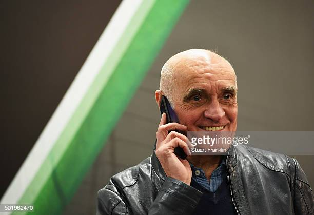 Martin Kind president of Hannover 96 looks on prior to the start of the Bundesliga match between Hannover 96 and FC Bayern Muenchen at HDIArena on...