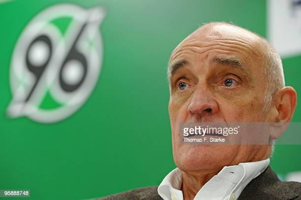 Martin Kind president of Hannover looks on 96 looks on during the press conference of Hannover 96 at AWD Arena on January 20 2010 in Hanover Germany...