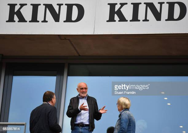 Martin Kind president of Hannover talks with guests during the Second Bundesliga match between Hannover 96 and VfB Stuttgart at HDIArena on May 14...