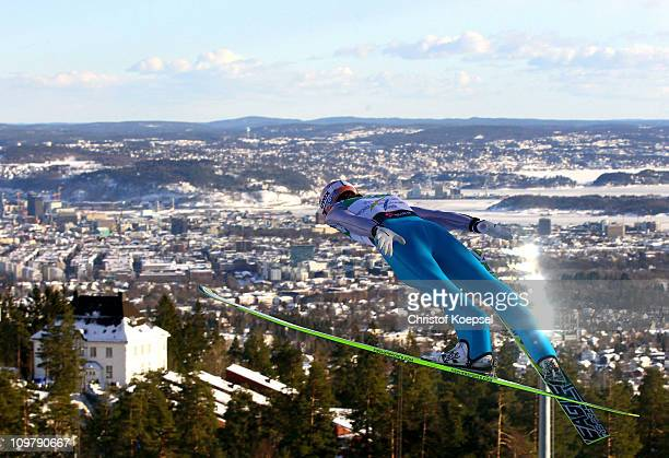 Martin Koch of Austria competes in the Men's Ski Jumping Team HS134 competition during the FIS Nordic World Ski Championships at Holmenkollen on...