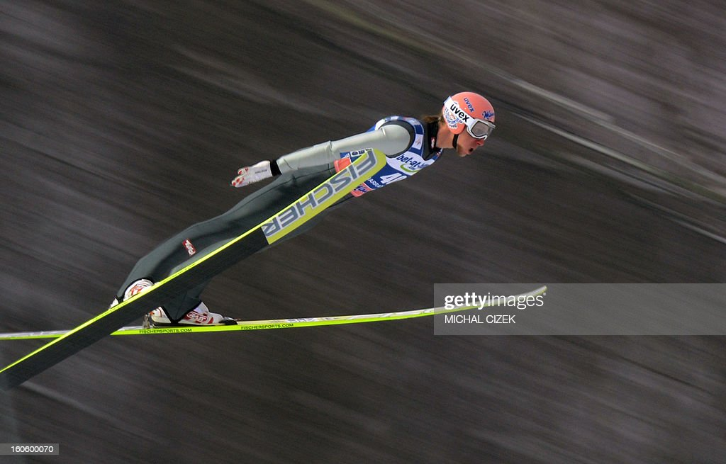 Martin Koch of Germany soars through the air during the second competition of the Ski Flying event of the FIS Ski Jumping World Cup in Harrachov on February 03, 2013.Gregor Schlierenzauer of Austria won this event ahead Jan Matura of the Czech Repuplic (2nd) and Jurij Tepes of Slovenia (3rd).