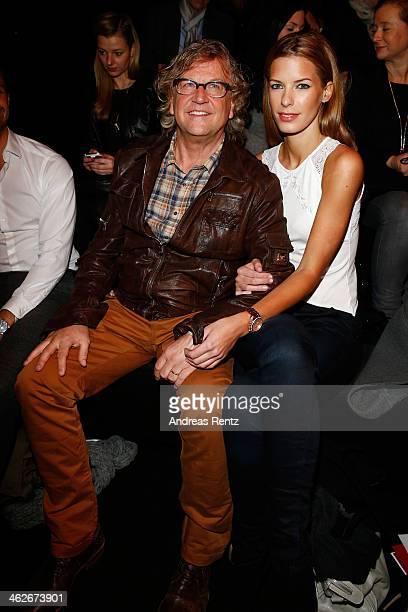 Martin Krug and Julia Trainer attend the Kilian Kerner show during MercedesBenz Fashion Week Autumn/Winter 2014/15 at Brandenburg Gate on January 14...