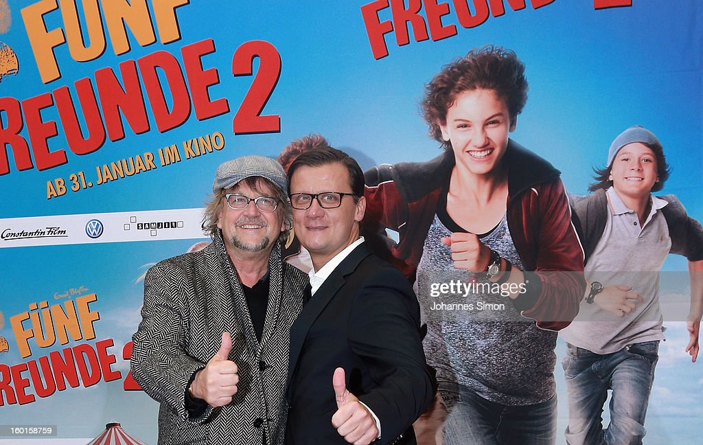 Martin Krug (L) and Torsten Koch arrives for the 'Fuenf Freunde 2' movie premiere at CineMaxx Cinema on January 27, 2013 in Munich, Germany.