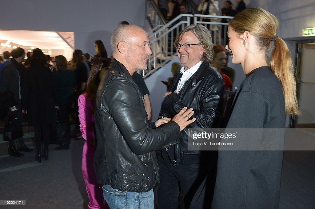 Martin Krug, Julia Trainer, Heiner Lauterbach and Viktoria Lauterbach attend the Laurel show during Mercedes-Benz Fashion Week Autumn/Winter 2014/15 at Brandenburg Gate on January 16, 2014 in Berlin, Germany.