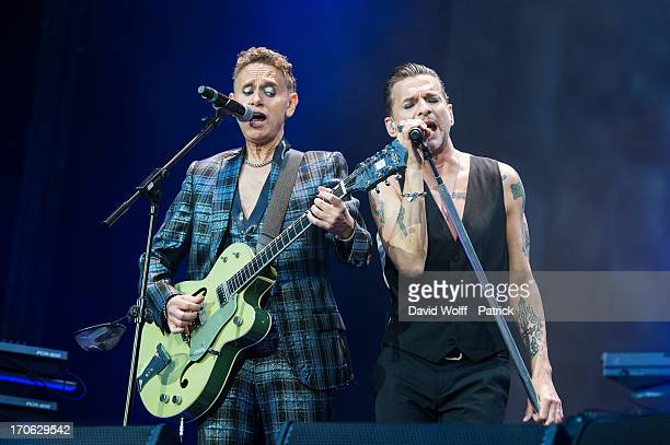 Martin L Gore and Dave Gahan from Depeche Mode perform at Stade de France on June 15 2013 in Paris France