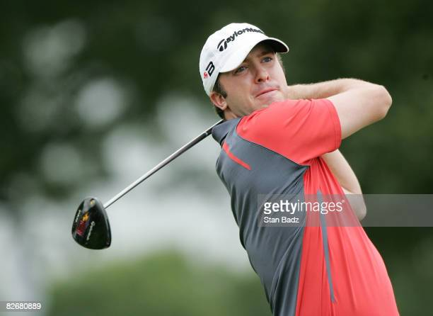 Martin Laird hits from the 10th tee box during the rain delayed first round of the BMW Championship held at Bellerive Country Club on September 5...