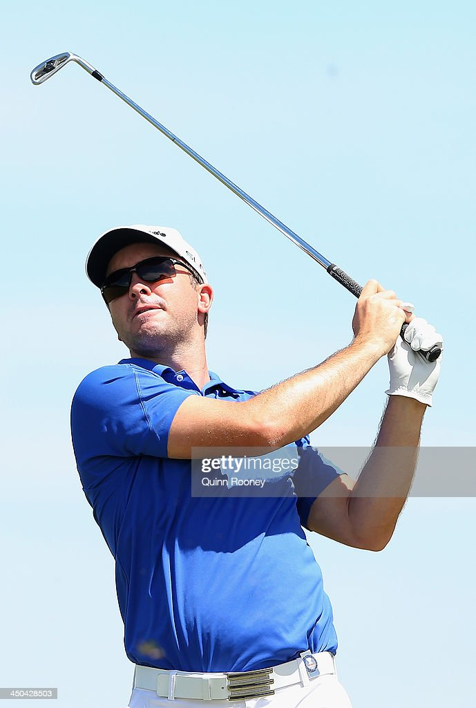 Martin Laird of Scotland plays an approach shot during practice ahead of the World Cup Of Golf at Royal Melbourne Golf Course on November 19, 2013 in Melbourne, Australia.