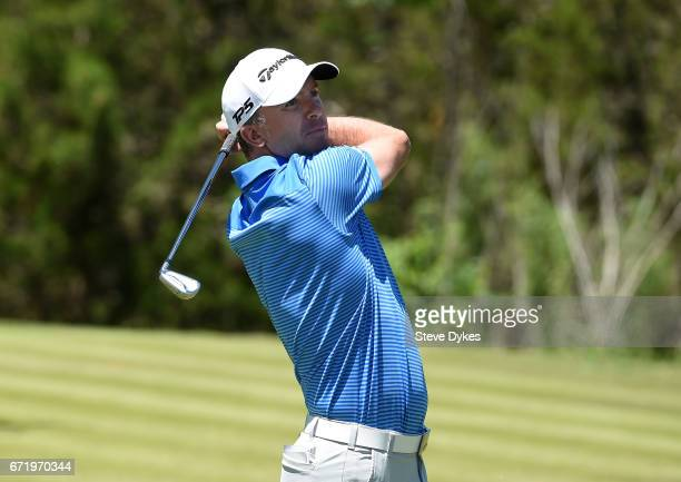 Martin Laird of Scotland plays his shot from the seventh tee during the final round of the Valero Texas Open at TPC San Antonio ATT Oaks Course on...