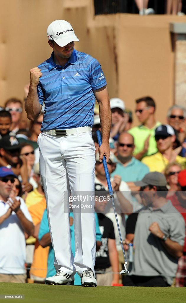 Martin Laird of Scotland reacts to sinnking a birdie putt on the 18th hole during the final round of the Valero Texas Open at the AT&T Oaks Course at TPC San Antonio on April 7, 2013 in San Antonio, Texas. Laird won the event, beating Rory McIlroy by two strokes.