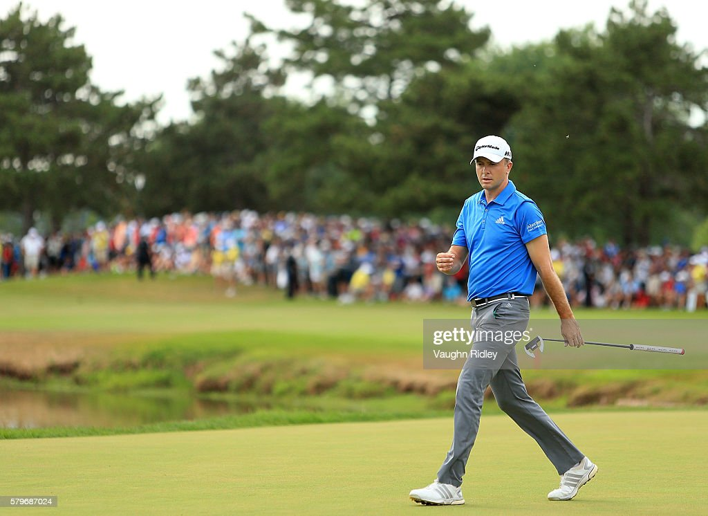 Martin Laird of Scotland walks onto the 18th green during the final round of the RBC Canadian Open at Glen Abbey Golf Club on July 24 2016 in...