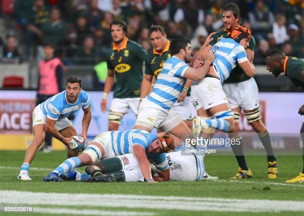 Martin Landajo of Argentina passes during the Rugby Championship match between South Africa and Argentina at Nelson Mandela Bay Stadium on August 19...