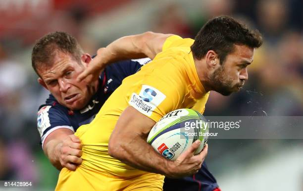 Martin Landajo of the Jaguares is tackled during the round 17 Super Rugby match between the Melbourne Rebels and the Jaguares at AAMI Park on July 14...