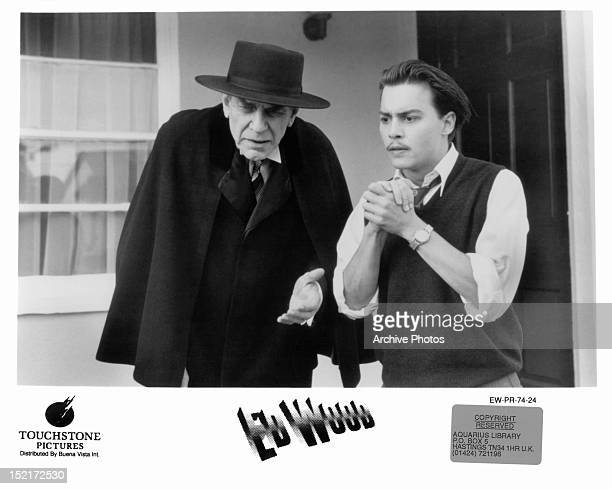 Martin Landau and Johnny Depp standing standing outside home in a scene from the film 'Ed Wood' 1994