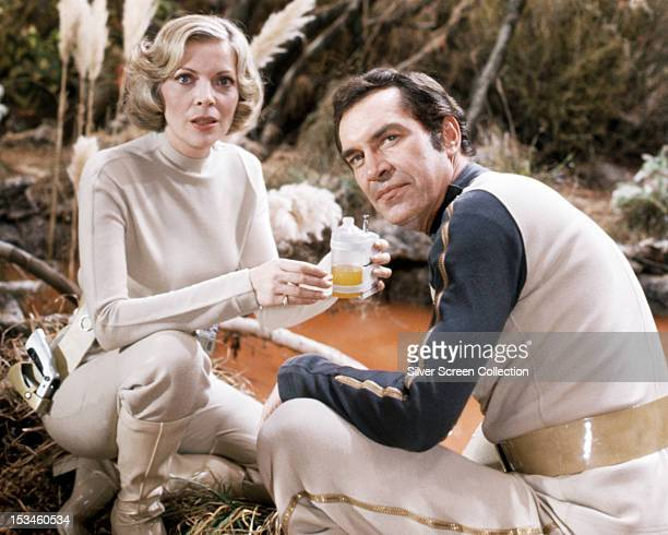 Martin Landau as Commander John Koenig and Barbara Bain as Doctor Helena Russell in the British TV science fiction series 'Space 1999' circa 1976