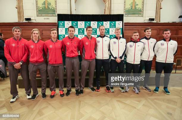 Martin Laurendeau Denis Shapovalov Peter Polansky Daniel Nestor and Vasek Pospisil of Canada pose for a photo with Dominic Inglot Kyle Edmund Dan...