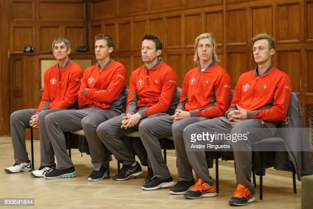 Martin Laurendeau Vasek Pospisil Daniel Nestor Denis Shapovalov and Peter Polansky of Canada look on during the draw ceremony of the Davis Cup World...