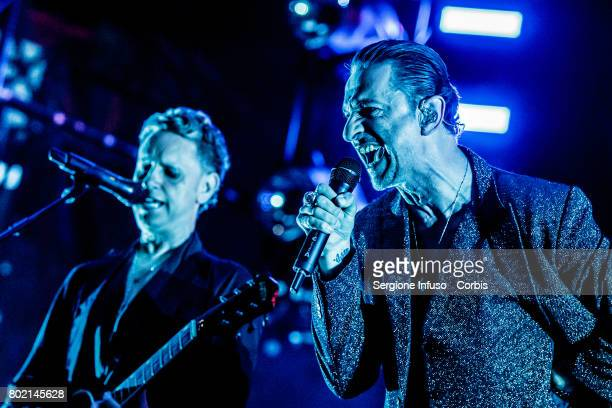 Martin Lee Gore and Dave Gahan of English electronic band Depeche Mode perform on stage at Stadio San Siro on June 27 2017 in Milan Italy