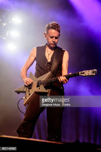 Martin Lee Gore of English electronic band Depeche Mode performs on stage at Stadio San Siro on June 27 2017 in Milan Italy