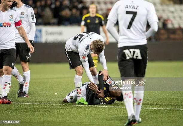 Martin Lorentzson of Orebro SK Chinedu Obasi of AIK during the Allsvenskan match between Orebro SK AIK at Behrn Arena on November 5 2017 in Orebro...