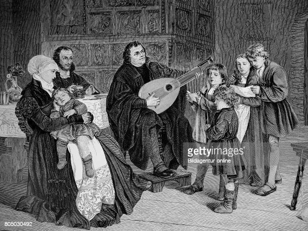 Martin Luther at home with musical instrument historical illustration