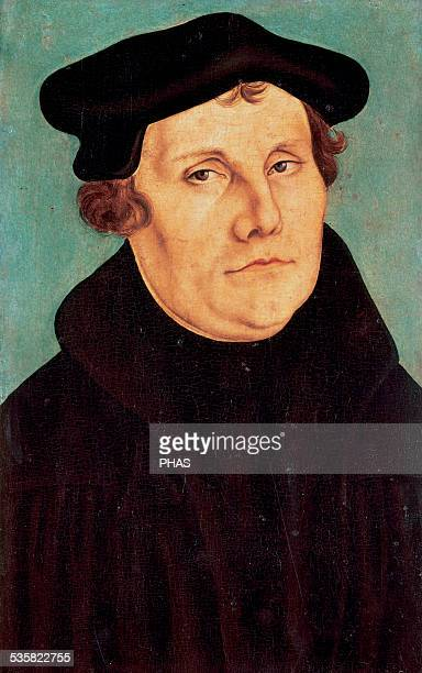 Martin Luther German monk icon of the Protestant Reformation Portrait by Lucas Cranach the Elder The Uffizi Gallery Florence Italy