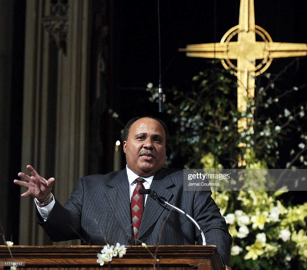 Martin Luther King III addresses the audience at The 'Realizing the Dream' Martin Luther King Jr Tribute at Riverside Church in New York City on...