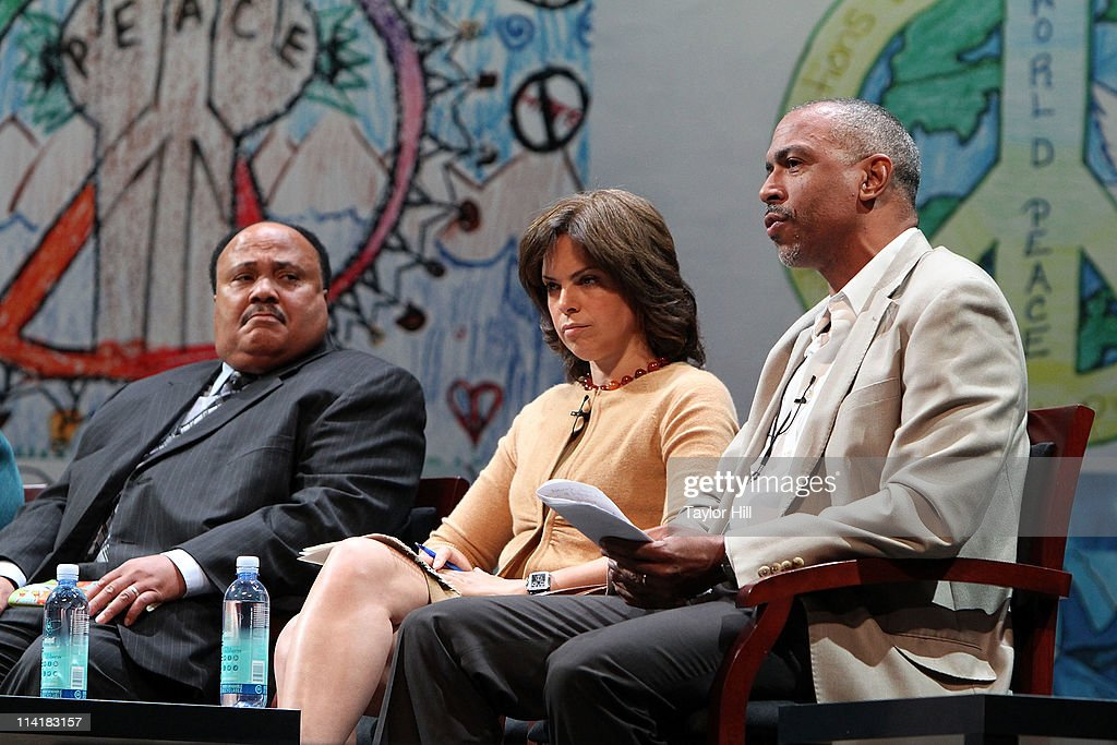 Martin Luther King III, anchor Soledad O'Brien, and professor Pedro Noguera attend the Newark Peace Education Summit at New Jersey Performing Arts Center on May 14, 2011 in Newark, New Jersey.