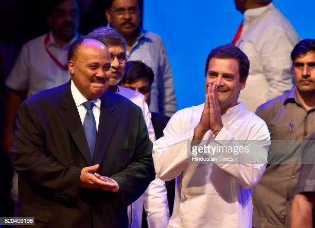 Martin Luther King III and Rahul Gandhi arrives for the inauguration of Dr B R Ambedkar International Conference 2017 at GKVK campus on July 21 2017...