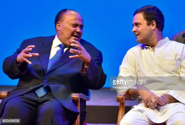 Martin Luther King III and Rahul Gandhi during the inauguration of Dr B R Ambedkar International Conference 2017 at GKVK campus on July 21 2017 in...
