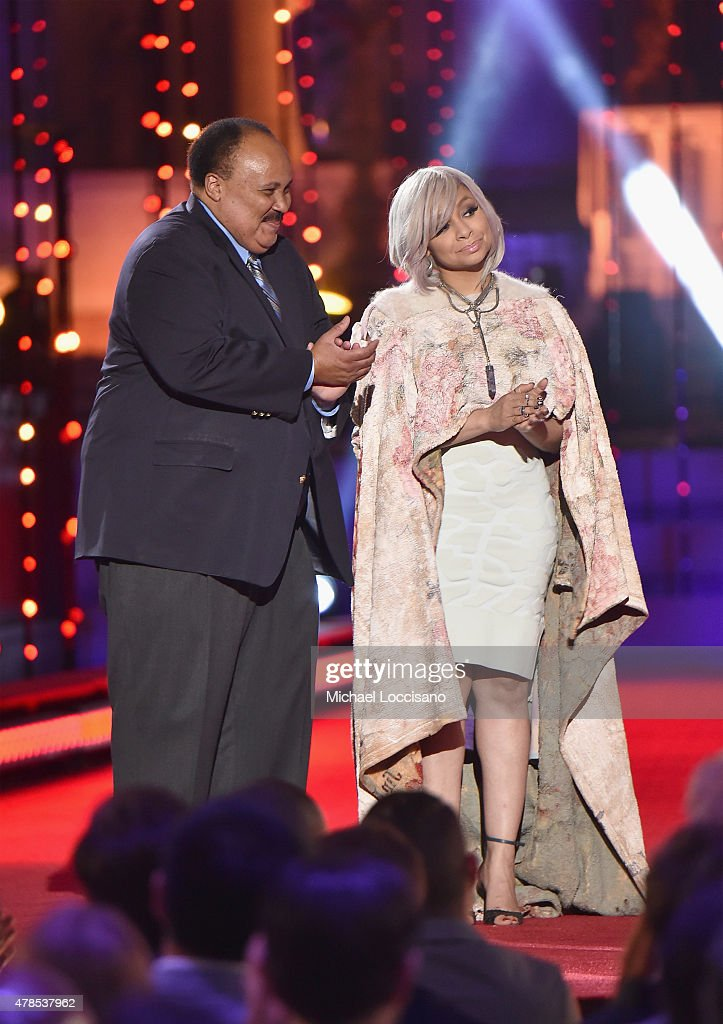 Martin Luther King III and RavenSymoné speak onstage at Logo's 'Trailblazer Honors' 2015 at the Cathedral of St John the Divine on June 25 2015 in...