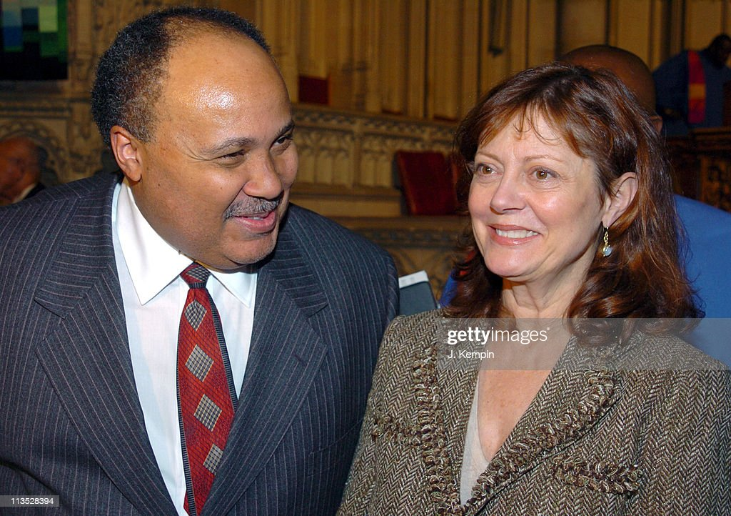 Martin Luther King III and Susan Sarandon during The 'Realizing the Dream' Martin Luther King Jr Tribute January 15 2006 at Riverside Church in New...