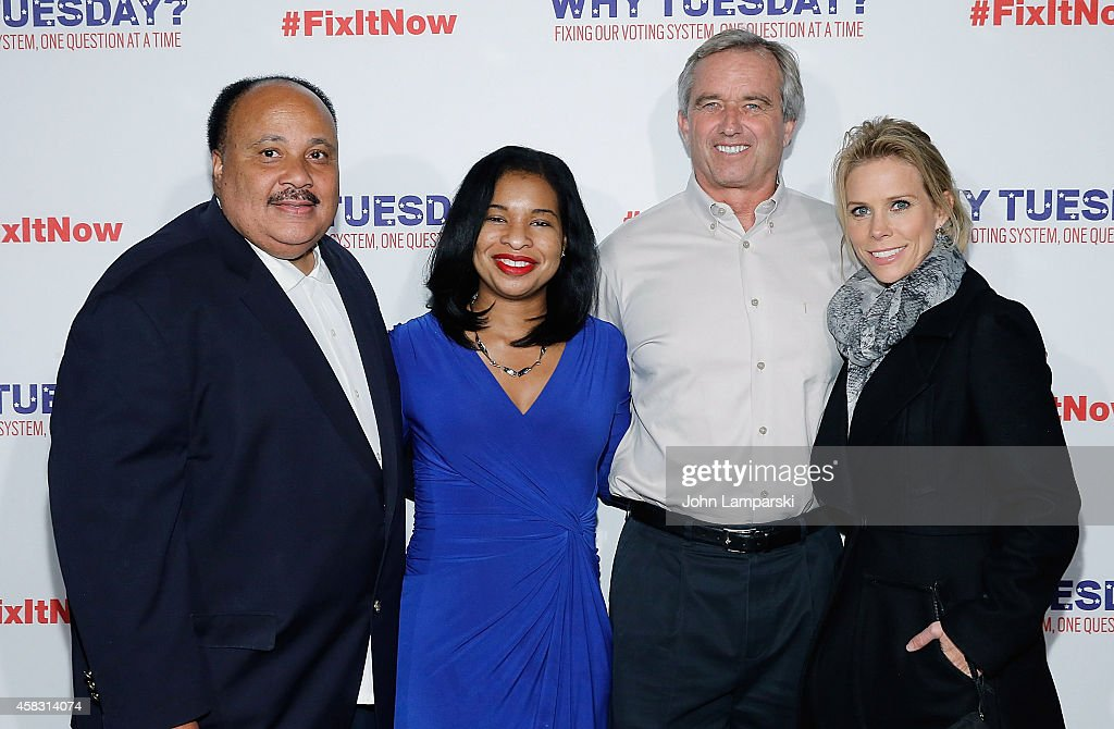 Martin Luther King III Arndrea Waters King Robert F Kennedy Jr and Cheryl Hines attend The Roots 'Lets Fix It' Concert at Webster Hall on November 2...