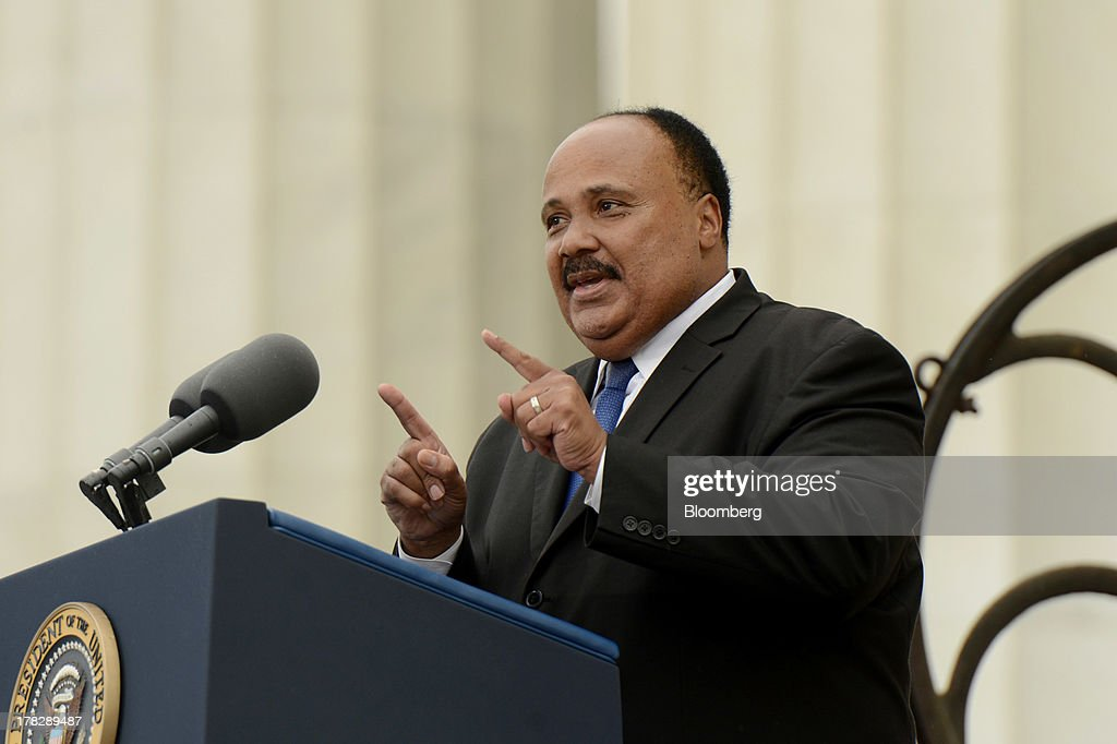 <a gi-track='captionPersonalityLinkClicked' href=/galleries/search?phrase=Martin+Luther+King+III&family=editorial&specificpeople=216411 ng-click='$event.stopPropagation()'>Martin Luther King III</a>, chairman of Realizing the Dream and son of civil rights pioneer Martin Luther King Jr., speaks during the Let Freedom Ring commemoration event at the Lincoln Memorial in Washington, D.C., U.S., on Wednesday, Aug. 28, 2013. U.S. President Barack Obama, speaking from the same Washington stage where Martin Luther King Jr. delivered a defining speech of the civil rights movement, said that even as the nation has been transformed, work remains in countering growing economic disparities. Photographer: Michael Reynolds/Pool via Bloomberg