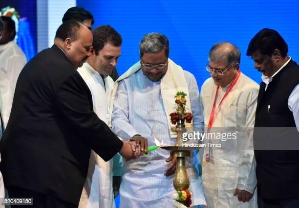 Martin Luther King III Rahul Gandhi Karnataka Chief Minister Siddaramaiah and Prakash Ambedkar grandson of Dr BR Ambedkar inaugurate the Dr B R...