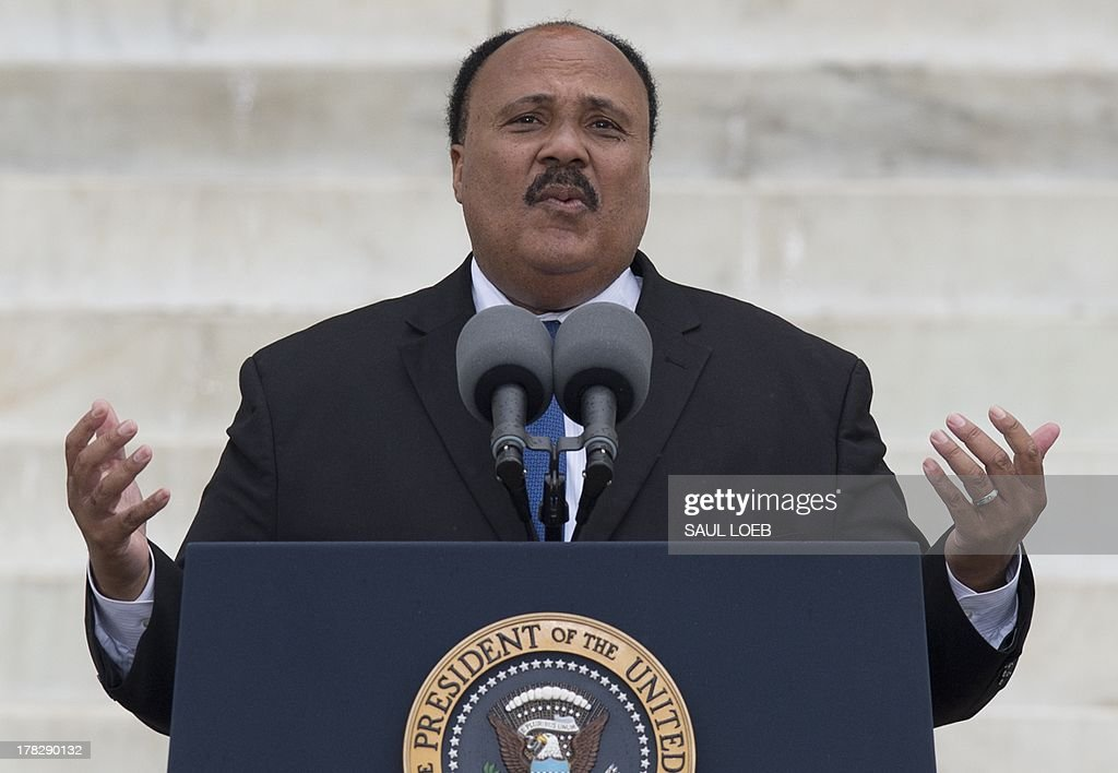 Martin Luther King III, son of the late Dr. Martin Luther King Jr., addresses the Let Freedom Ring Commemoration and Call to Action marking the 50th anniversary of the March on Washington for Jobs and Freedom at the Lincoln Memorial in Washington, DC on August 28, 2013. Thousands gathered on the mall on the anniversary of the march and Dr. Martin Luther King, Jr.'s famous 'I Have a Dream' speech. AFP PHOTO / Saul LOEB