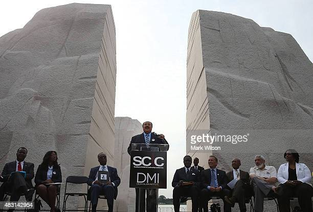 Martin Luther King III speaks during a rally at the Dr Martin Luther King Jr Memorial during a rally to commemorate the 50th anniversary of the...