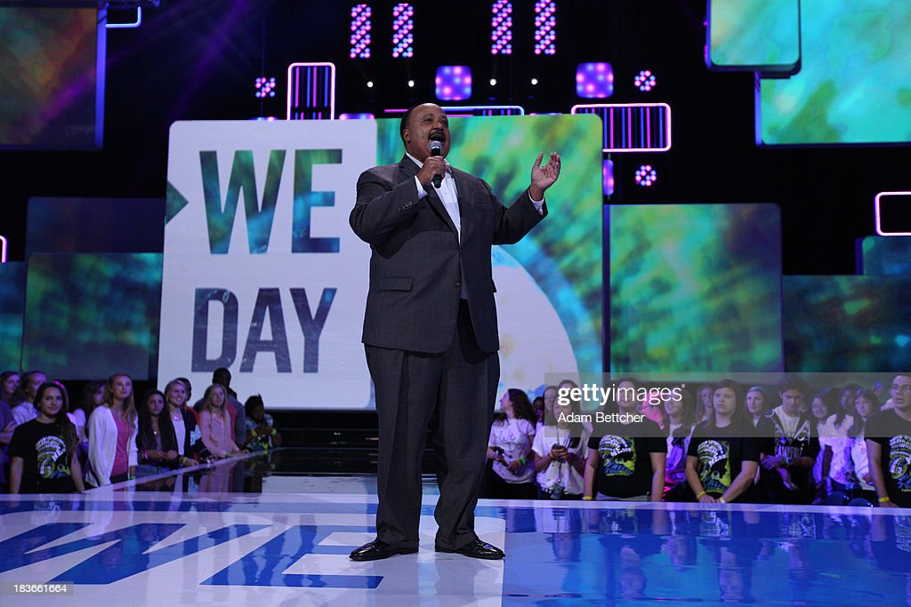 Martin Luther King III speaks during the We Day Minnesota event at the Xcel Energy Center in St. Paul, Minnesota on October 8, 2013