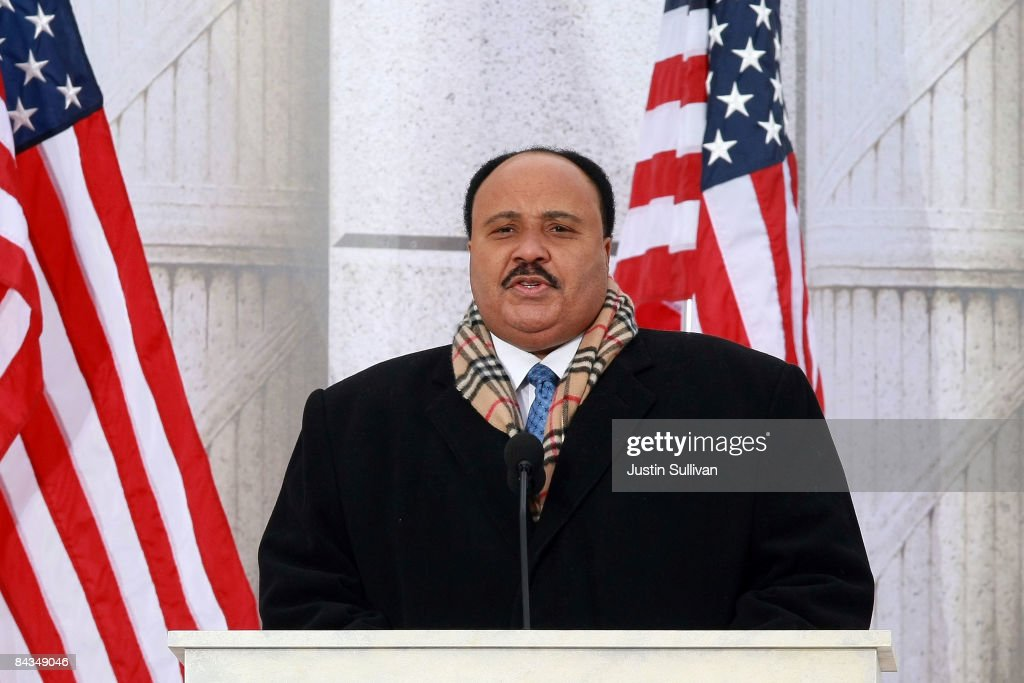 Martin Luther King III speaks in front of the Lincoln Memorial during the 'We Are One The Obama Inaugural Celebration At The Lincoln Memorial' on...