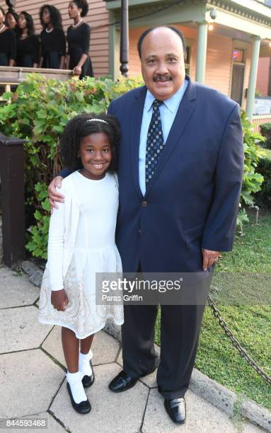 Martin Luther King III with his daughter Yolanda Renee King at Dr Christine King Farris 90th Birthday Celebration at King Family Birth Home Historic...